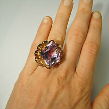 Fantasy Amethyst Aphrodite Goddess Shell Art Deco Ring 14K Gold Gatsby 1940s