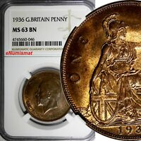 GREAT BRITAIN George V Bronze 1936 1 Penny NGC MS63 BN NICE TONING KM# 838