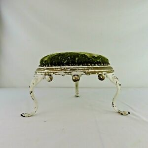 Antique Victorian Foot Stool Round with Iron / Metal legs Spherules Needlepoint