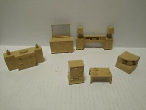 Vintage 1960s  MARX Dollhouse Furniture lot dressers & night stands & TV & more