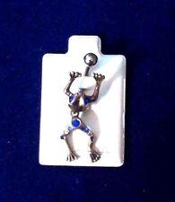 Cute Frog Blue Rhinestones  Dangle Belly Piercing Navel Ring Silver