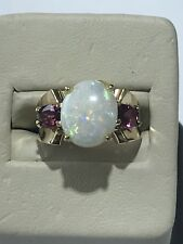 Beautiful 14KT 585 Yellow Gold Oval Opal & Oval Pink Tourmaline Accent Ring