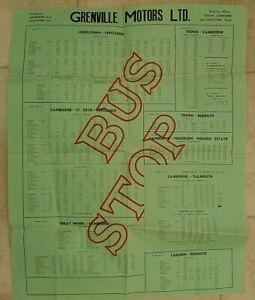 "GRENVILLE MOTORS u/d c1950s ~  "" BUS STOP "" TIMETABLE LARGE POSTER"