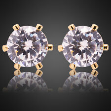 Xmas 7mmx7mm Fashion Lady Yellow Gold Plated Rhinestone Stud Earrings