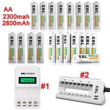 Lot 2300mAh 2800mAh AA Rechargeable Battery w AAA AA Battery Charger w/ LCD USB