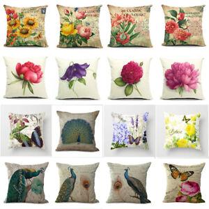 """18"""" Retro Flower Pillow Case Sofa Throw Cushion Cover Cotton Linen Home Decor"""