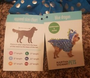 Martha Stewart Blue Dragon Pet Costume- Small