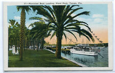 Boat Landing Plant Park Tampa Florida 1920s postcard