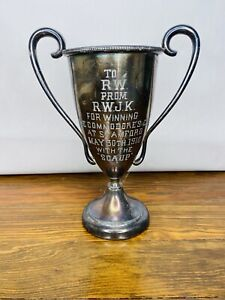 """1910 Antique Stamford Commodore Cup Trophy  Silverplate w/ """"SCAUP"""""""