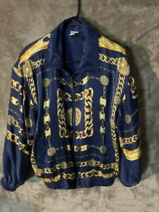 Vintage FUDA International Gold Chain Chanel Vibes 80s Jacket W/ Shoulder Pad