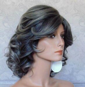 Medium Length Thick Wavy Black Grey High Heat Ok Full Synthetic Wig - G1218