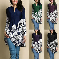Plus Size Women V-Neck T-Shirt Floral Tunic Tops Loose Long Sleeve Casual Blouse