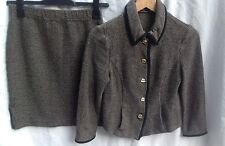 ST JOHN COLLECTION AUTH $1899 NEW Women's Tweed Skirt Suit Black and Beige Sz 6