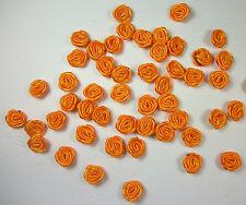50 APPLICAZIONE FIORI ROSE NASTRO RASO 10 mm arancione BOMBONIERE FAI DA TE 223