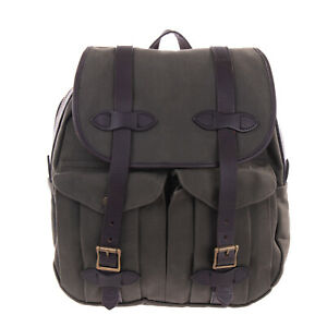 RRP €470 FILSON Twill Backpack Zip & Pin Buckle Flap Closure Made in USA