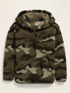 Old Navy Kids Boys Camo Cozy 1/4 Zip Sherpa Pullover Hoodie Size Medium Or Large
