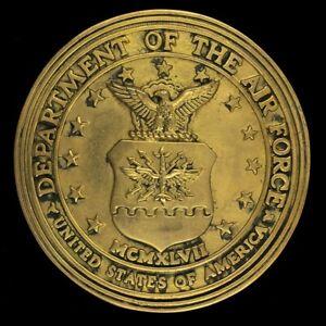 Vtg 70s Seal Department Air Force Usaf Aviation Veteran Gift Brass Belt Buckle