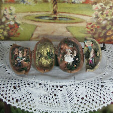 Antique Vtg Mexican WALNUT SHELL WEDDING Miniature Diorama Dollhouse Sculpture
