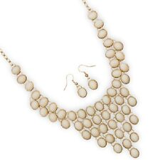 Off White Oval Beads Gold Tone Bib Necklace and Earrings Set NWT!!
