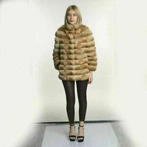 Beige Chinchilla Fur Jacket Stand Up Collar size small