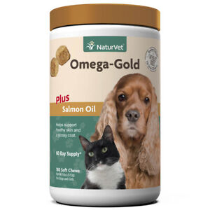 NaturVet OMEGA GOLD Dog Cat Soft Chews Healthy Skin Salmon Oil 180 ct