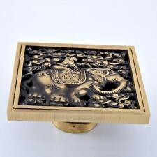 Antique Brass Art Carved Square Bathroom Shower Drain Floor Waste Grate Drainer