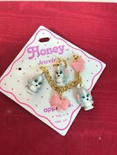 Sad Sam Honey Dog Plush Gold Tone Charm Bracelet Applause Vintage