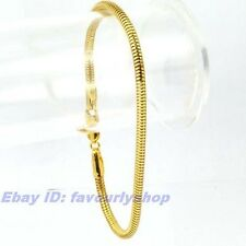 """8.3""""3mm 5g THIN SNAKE CHAIN 18K YELLOW GOLD PLATED BRACELET SOLID FILL GP GEP"""