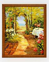 Garden Flowers Scene 16 x 20 Art Oil Painting on Canvas w/ Custom Wooden Frame