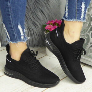 Running Trainers Shoes Ladies Womens Slip On Sneakers Lace Up Jogging Gym Comfy