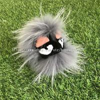 Light Gray Real Fox and Mink Fur PomPom Ball Fur Monster Bag Bug Charm Keychain