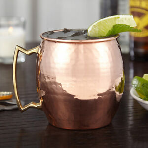 NEW! MODERN HOME 100% COPPER HAMMERED MOSCOW MULE MUG - 18oz - NICKEL LINED