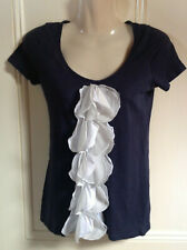 Lovely River Island Navy Blue Frilled Top Size 8
