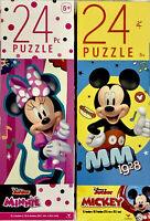 Disney MICKEY MOUSE 1928 AND MINNIE MOUSE 24 Piece Jigsaw Puzzles Set/2-NEW