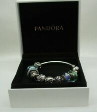 Genuine Pandora Silver Bangle With Ten Various Charms In Original Box