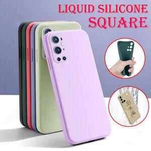 Square Edge Liquid Silicone Case For OnePlus 9 8T 8 7T 7 Pro 6T Thin Phone Cover