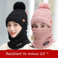 Women's Knit Scarf Hat Set Winter Warm Solid Pom Soft Beanie Caps Scarves Sets