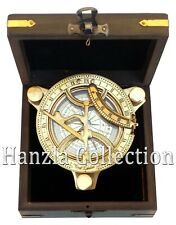 "Nautical West London Polished Brass Sundial 4"" Maritime Compass With Wooden Box"
