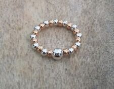 Rose Gold Silver Plain Ball Beaded Ring Stretch Stacking