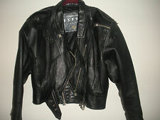 EXPRESS COMPAGNIE INTERNATIONALE WOMENS BLACK LEATHER BIKER JACKET M EXCELLENT