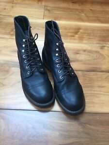 Red Wing Iron 8114 D Black Boots UK Size-9