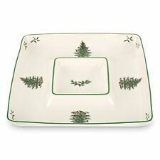 SPODE CHRISTMAS TREE CHIP AND DIP ALL IN ONE PLATE BOWL PLATTER SQUARE