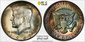 1967-P SILVER KENNEDY HALF DOLLAR PCGS MS64 UNC MULTI COLOR MONSTER TONED (DR)