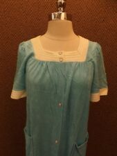 Vtg 1970s Shiny Blue Terry Cloth Summer Nightgown Dress Robe S Pearl Snap Down