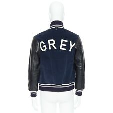 THOM GREY navy blue cotton suede souvenir bomber jacket leather sleeves logo M