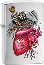 Zippo Gothic Sword Through Heart Brushed Chrome WindProof Lighter NEW 29406