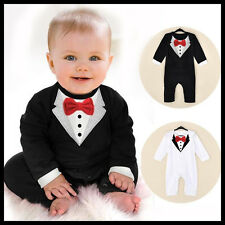 Baby Boy Wedding Christening Formal Party Bow Tie Smart Suit Outfit Tuxedo 6-24m