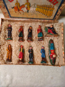 Rare Antique Set of Ten Papier Mache Composition French Toy Soldiers in Orig Box