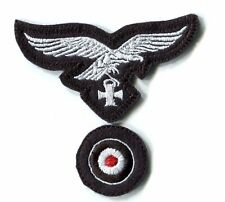 WWII German Luftwaffe Cap Set Eagle Iron Cross White on Black Panzer Repro