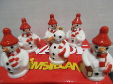 FULL SET OF WADE SNOWMEN WHIMSIES RARE RED  VERSION PERFECT AND BOXED